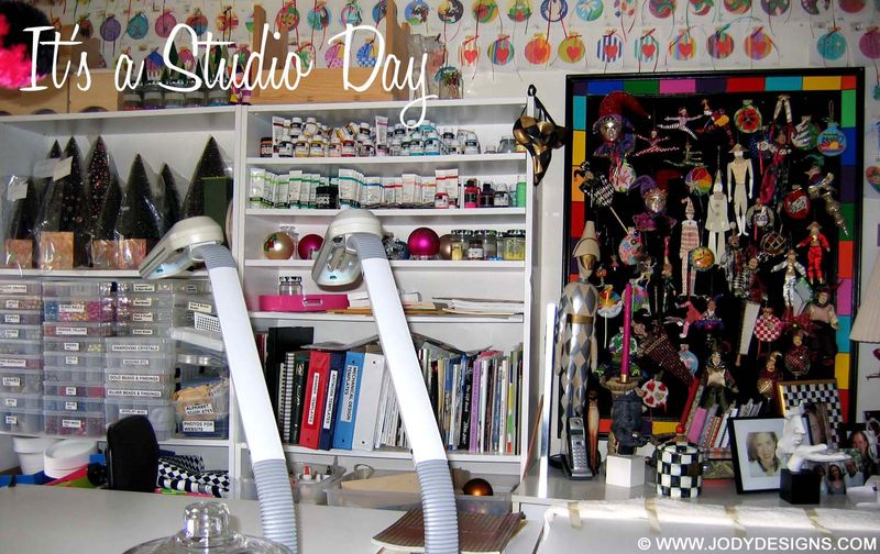 Studio-bookcases & harlequins (barn)