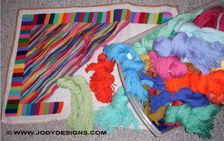 Stripe rug & yarn