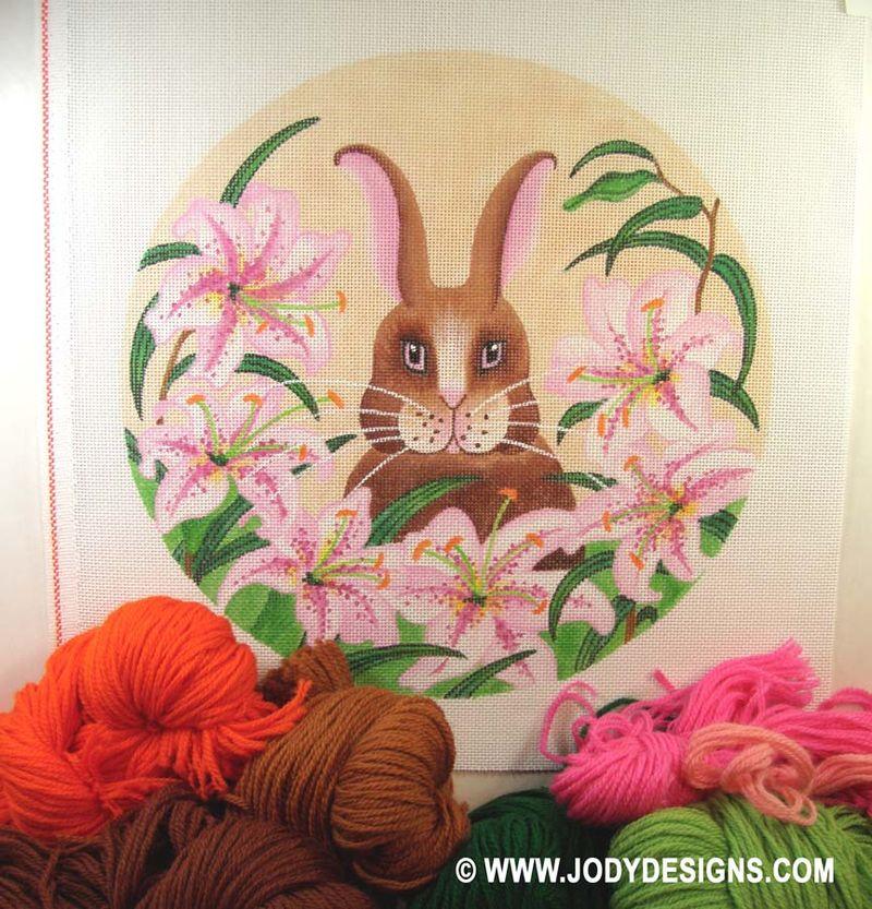ETSY Bunny w:pink lilies -yarn