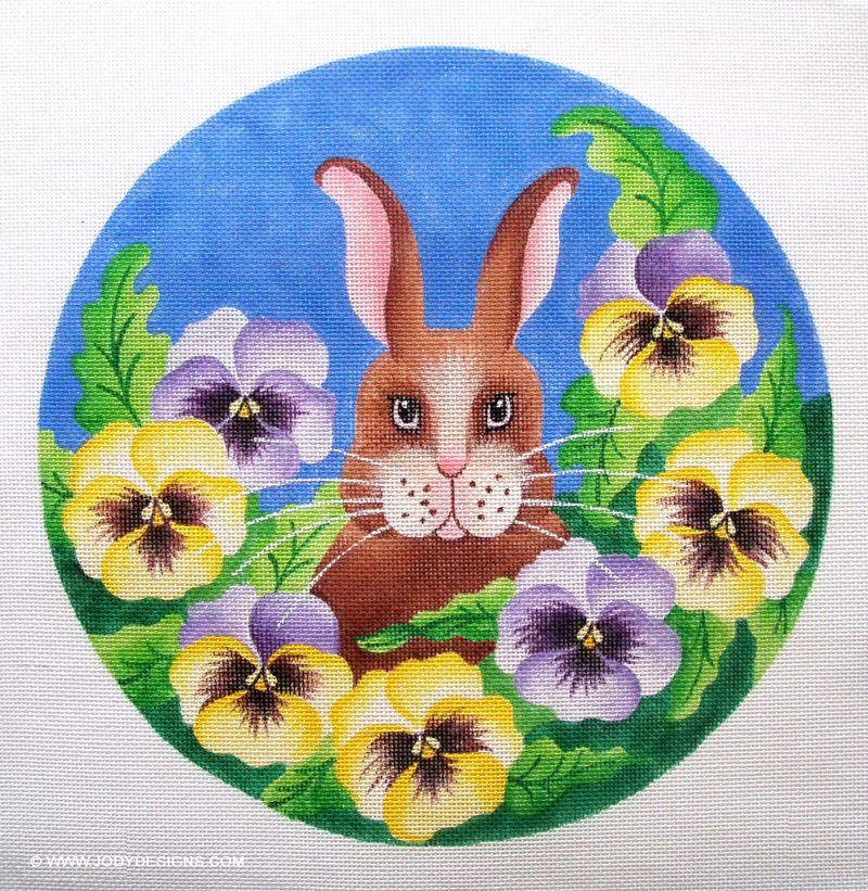 Bunny in pansies round:blog