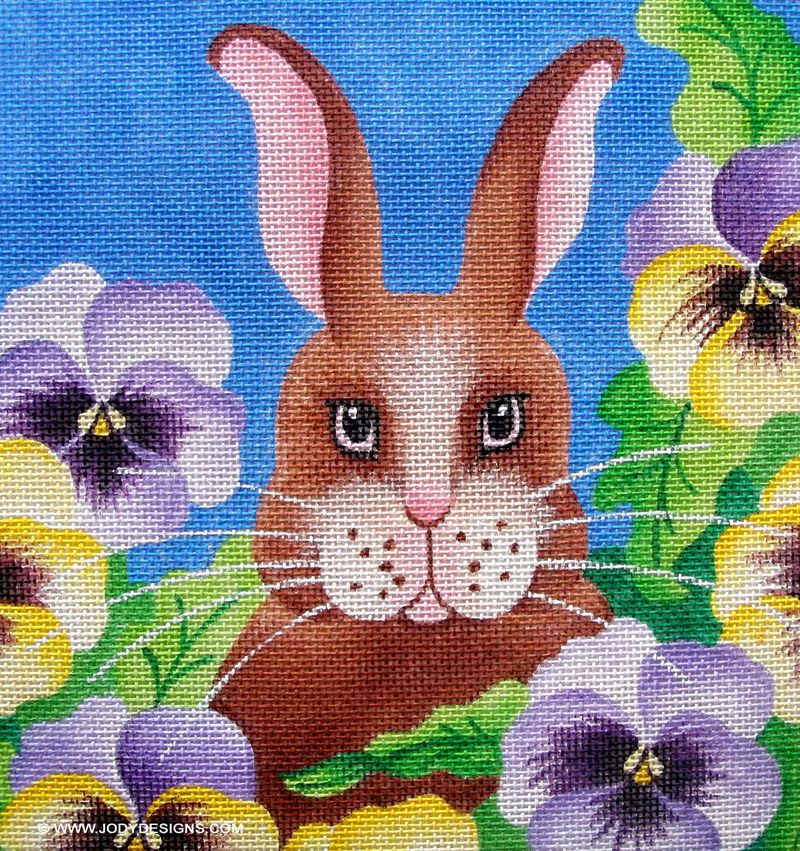 Bunny in pansies closeup:blog