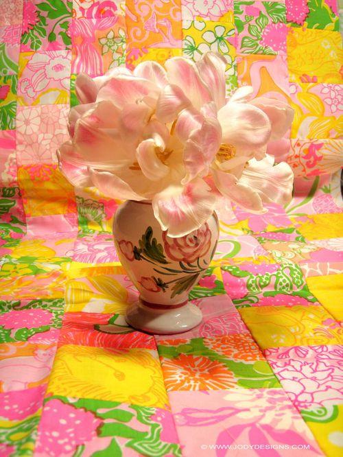 Tulips on fabric