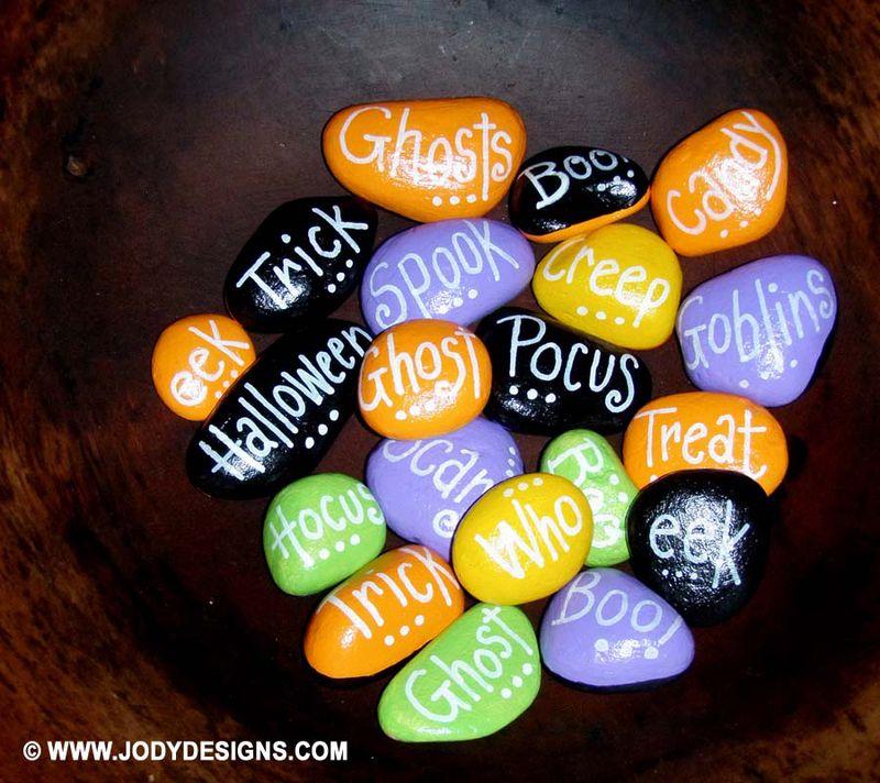 ETSY- Halloween stones-closeup